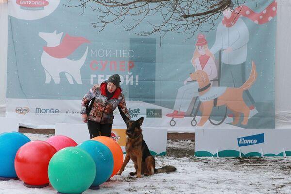 Una padrona con il suo pastore tedesco al festival Il mio cane è un supereroe a Mosca. - Sputnik Italia