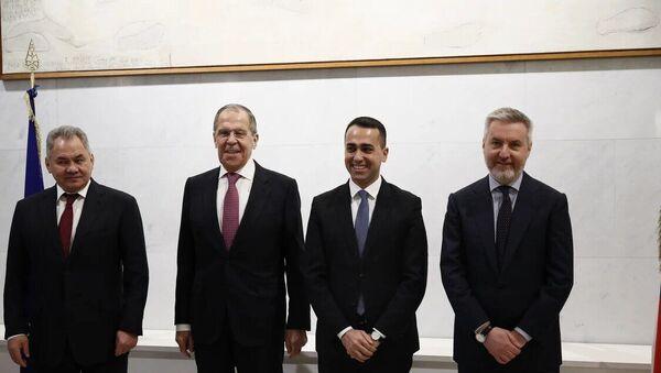 Sergey Shoigu, Sergey Lavrov, Luigi Di Maio e Lorenzo Guerini s'incontrano a Roma - Sputnik Italia