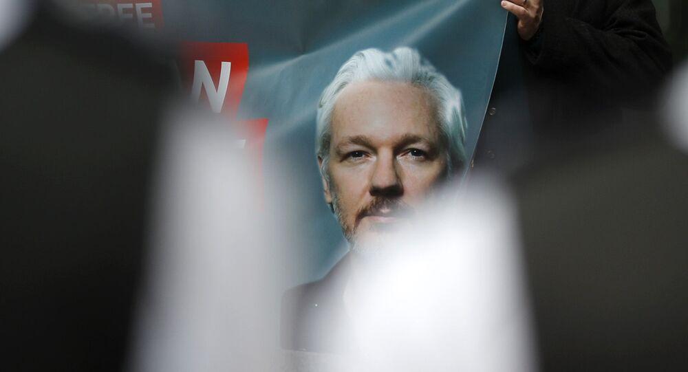 La manifestazione a sostegno di Julian Assange
