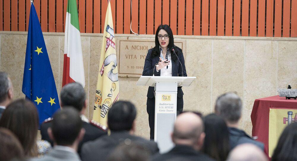 La Ministra Lucia Azzolina presenta il Piano per il Sud presso l'Auditorium dell'Istituto d'Istruzione Superiore 'F. Severi'.
