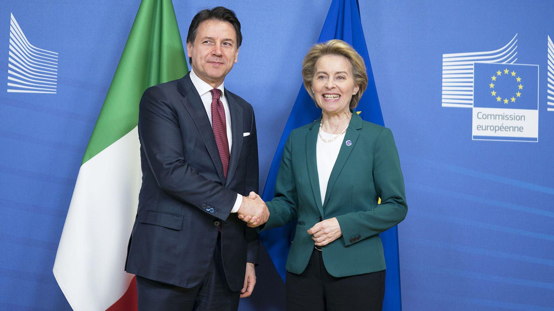 Il Presidente del Consiglio, Giuseppe Conte, incontra a Palazzo Berlaymont la Presidente della Commissione europea Ursula von der Leyen - Sputnik Italia, 1920, 10.08.2021