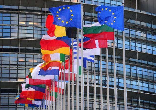 Bandiere dei paesi dell'UE di fronte all'edificio principale del Consiglio d'Europa a Strasburgo