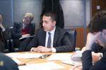 Il Ministro degli Affari Esteri, Luigi Di Maio, al Dipartimento della Protezione Civile per la riunione del Comitato operativo sul Coronavirus.