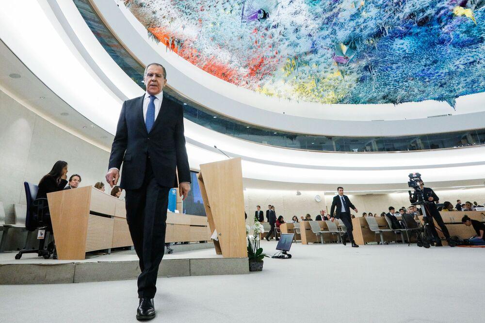 Il ministro degli Esteri russo Sergey Lavrov durante una sessione del Consiglio  per i diritti umani delle Nazioni Unite