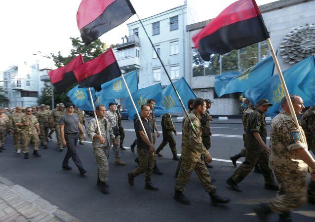 Sostenitori del movimento radicale ucraino Settore destro
