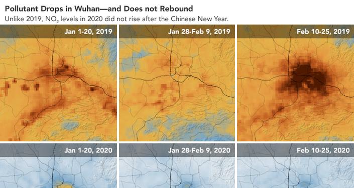L'immagine satellitare mostra il significativo declino dei livelli di inquinamento sulla Cina dovuto in parte al rallentamento economico provocato dal coronavirus