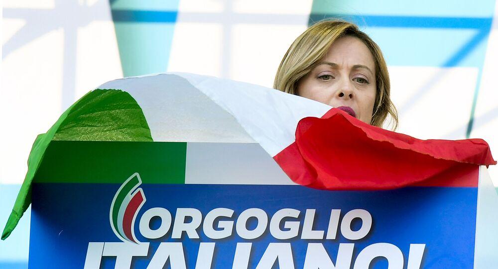 Il leader di Fratelli d'Italia Giorgia Meloni