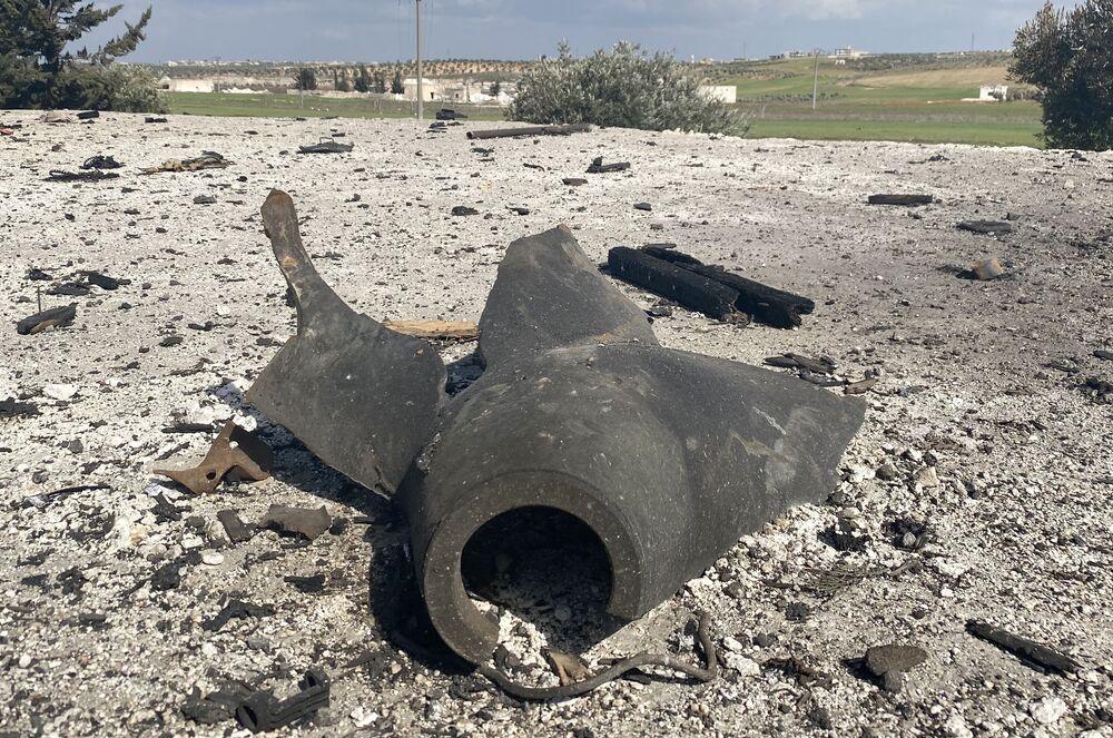 Un proiettile che si trovava in un camion con munizioni attaccato nella provincia siriana di Idlib.