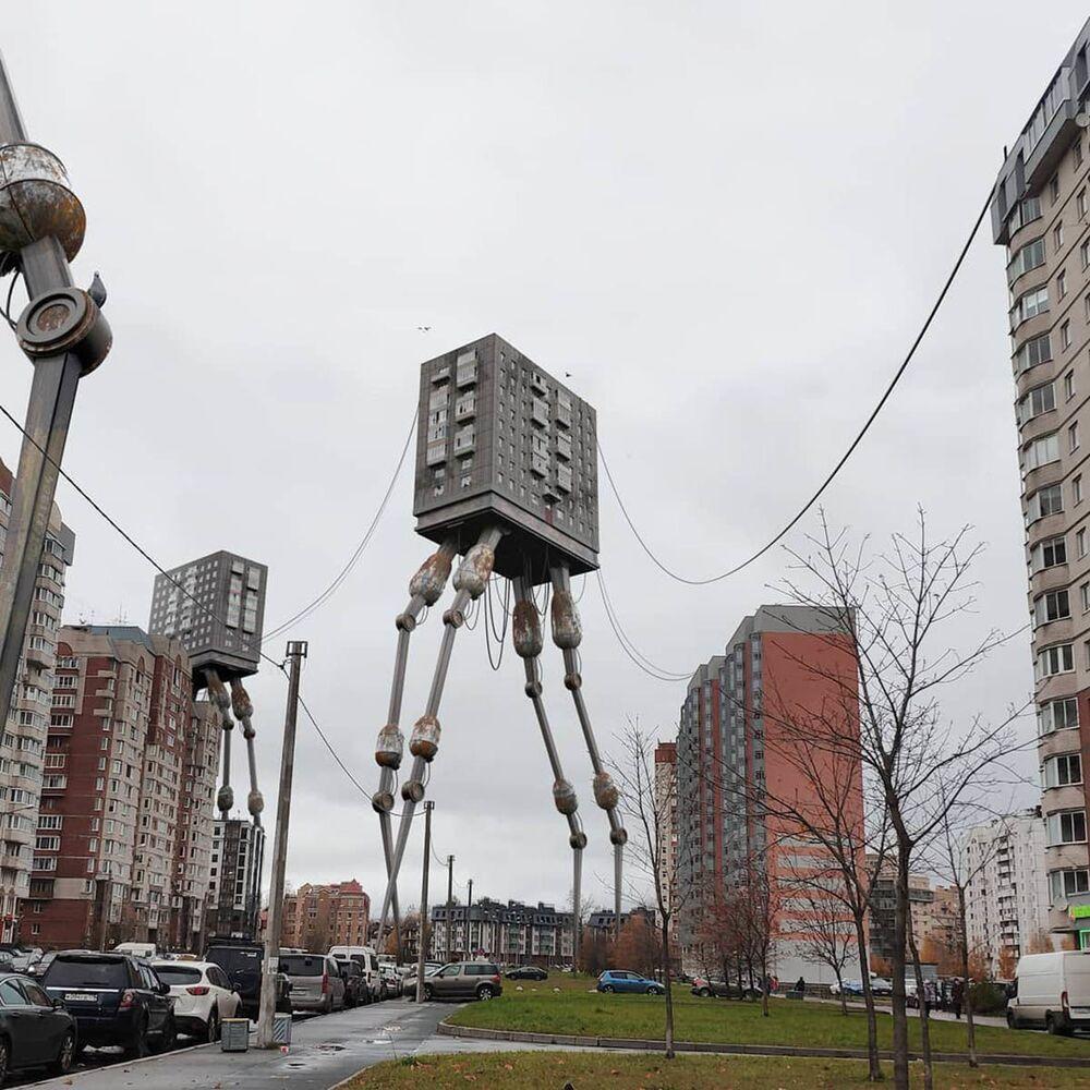 Un palazzo residenziale sui piedi a San Pietroburgo nell'opera dell'artista russo Vadim Solovyov.