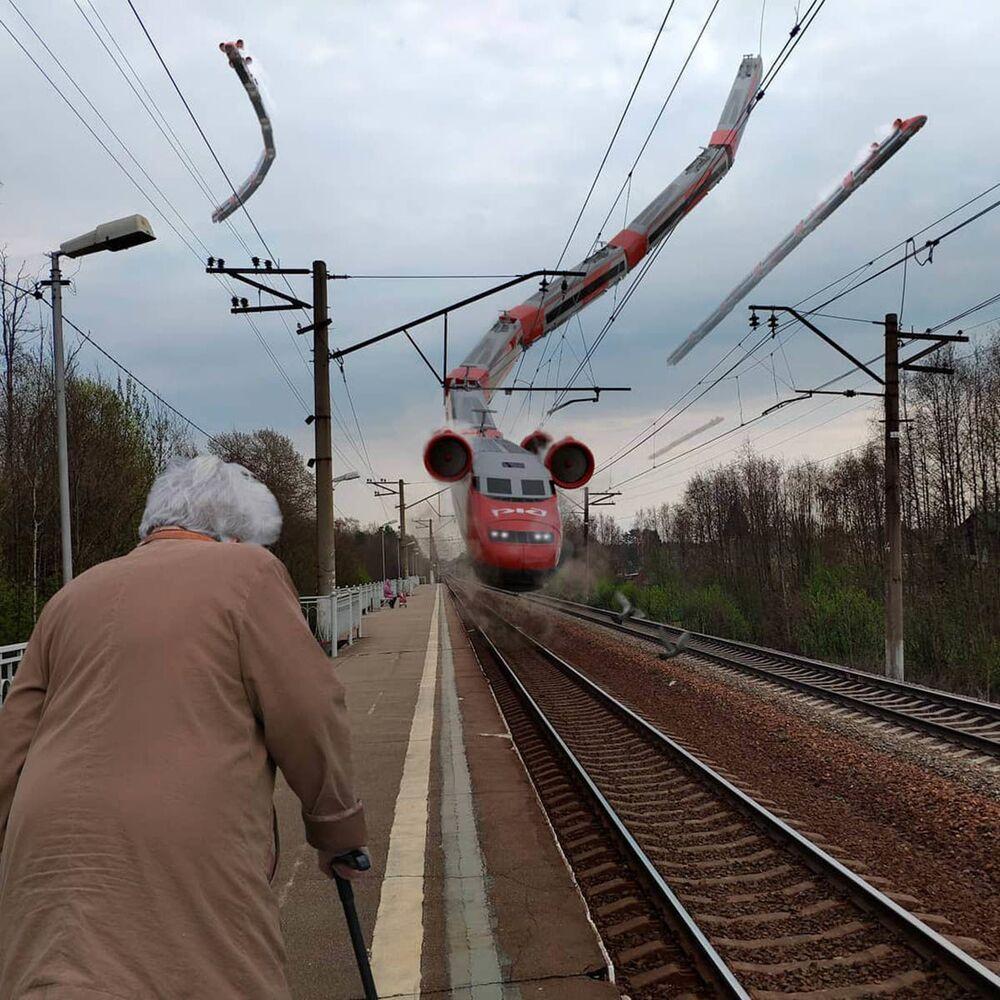 Un treno volante a San Pietroburgo nell'opera dell'artista russo Vadim Solovyov.