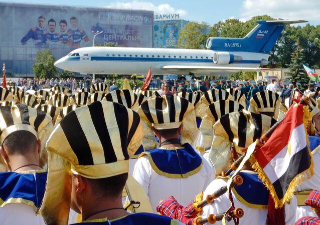 L'orchestra militare dell'Egitto si esibisce a Mosca nell'ambito del festival Torre Spasskaya.
