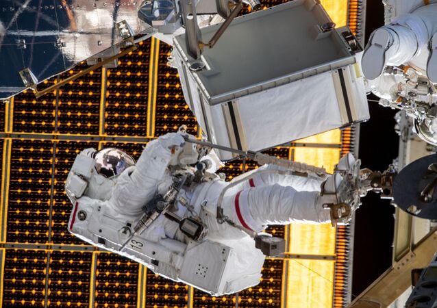 Astronauta Jessica Meir al lavoro sulla Iss