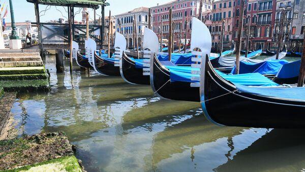 Una gondola vista sull'acqua trasparente di Venezia - Sputnik Italia