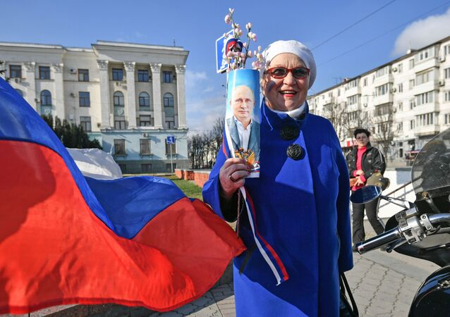 Le celebrazione del sesto anniversario della reintegrazione della Crimea con la Russia a Sinferopoli.