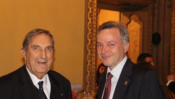 Rosario Alessandrello ed Evgeny Utkin alla Serata Russa del 25/9/2019 in palazzo Visconti a Milano - Sputnik Italia