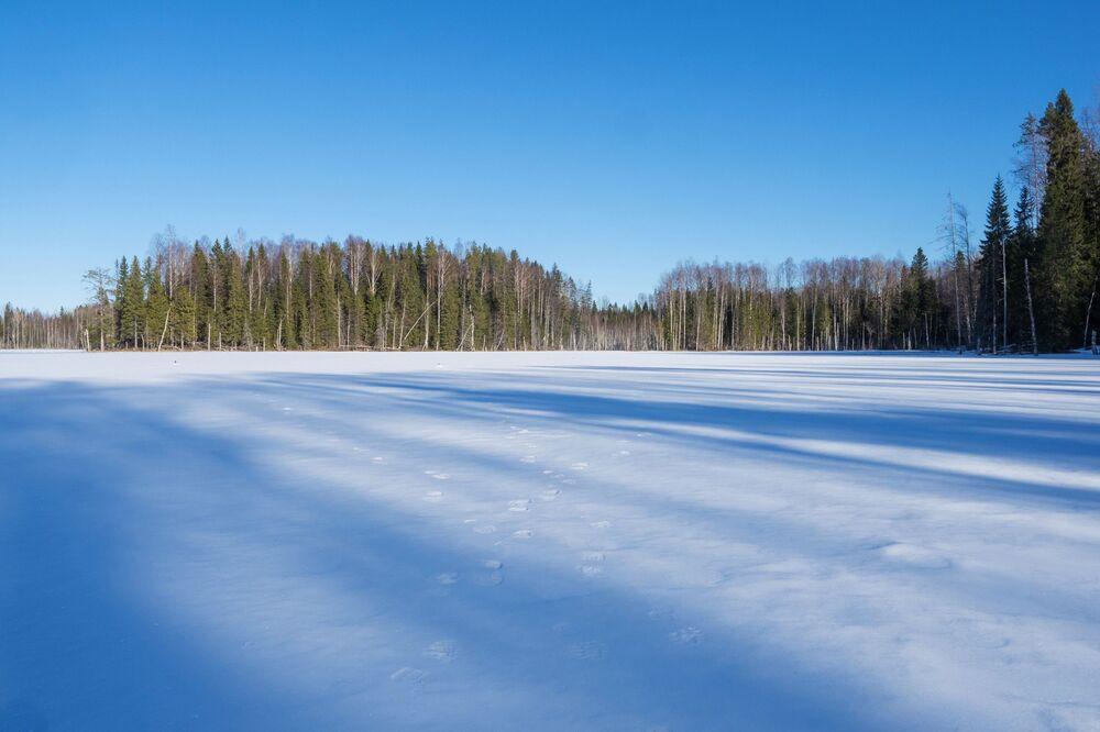 Un lago nella Repubblica di Carelia, Russia