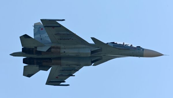 An Su-27 airplane during demonstration performances at the exhibition of weapons and military equipment in Rostov-on-Don. - Sputnik Italia