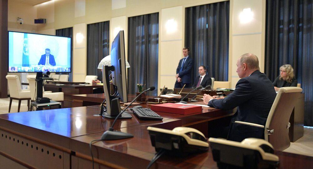 Il presidente russo Vladimir Putin prende parte al vertice G20 d'emergenza per il coronavirus in videoconferenza