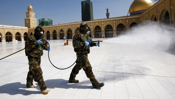Members of the civil defense team spray disinfectant to sanitize surrounding of the Kufa mosque - Sputnik Italia
