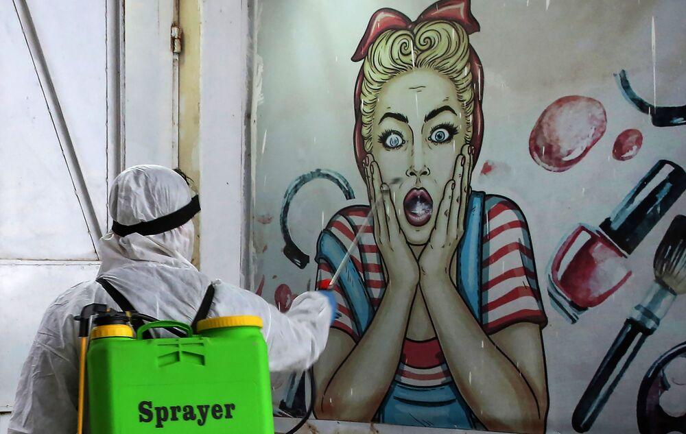 La disinfezione nei pressi di Bagdad, Iraq.