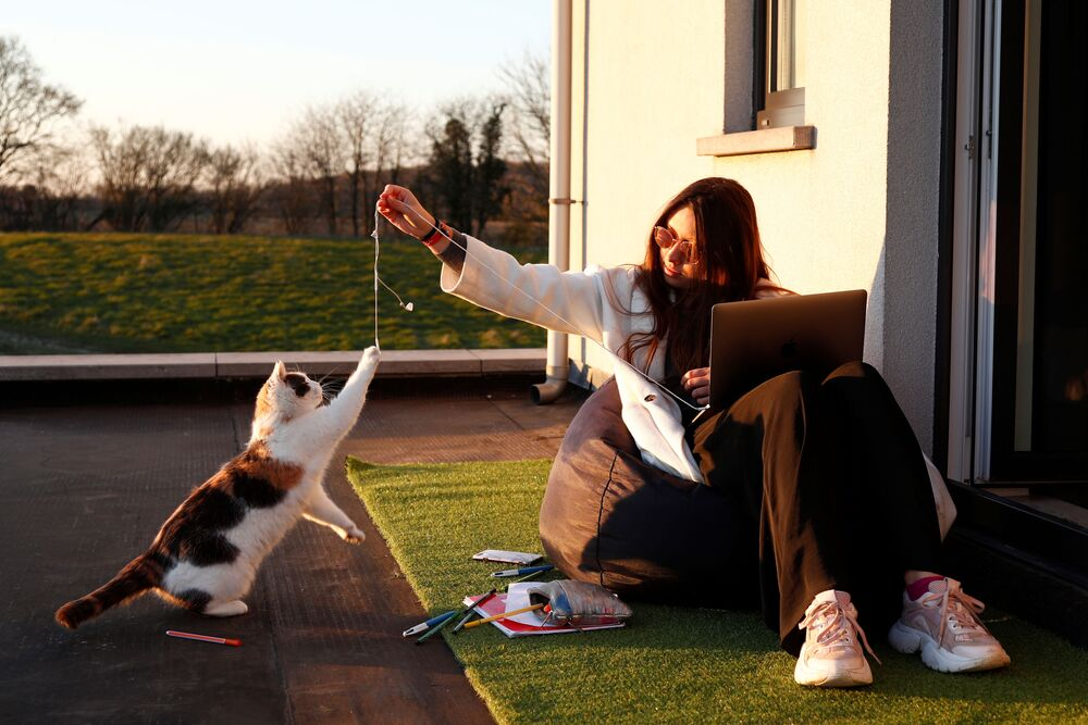 Ragazza gioca con un gatto sulla soglia della sua casa in un villaggio belga