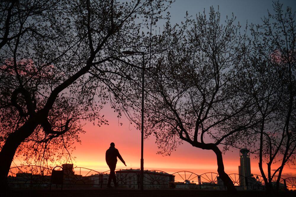 Il tramonto a Mosca, Russia