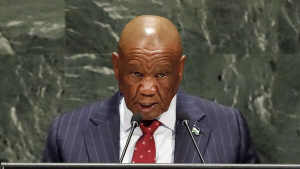 In this Friday, Sept. 27, 2019, file photo Lesotho's Prime Minister Thomas Motsoahae Thabane addresses the 74th session of the United Nations General Assembly. Thabane will be charged with the June 2017 killing of his former wife, Lipolelo, a top police official said Thursday, Feb. 20, 2020.  - Sputnik Italia