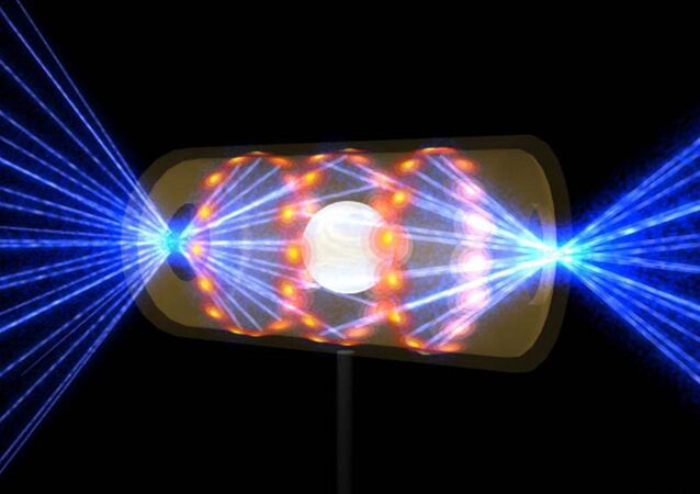 """An artist's rendition of lasers being shot into a capsule to create nuclear fusion, which is often referred to as the """"holy grail"""" of energy production."""