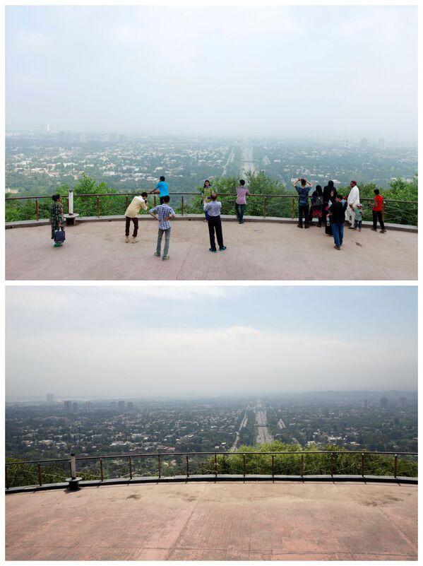 La vista da una terrazza panoramica ad Islamabad, Pakistan, il 3 agosto 2017 e il 20 aprile 2020. - Sputnik Italia