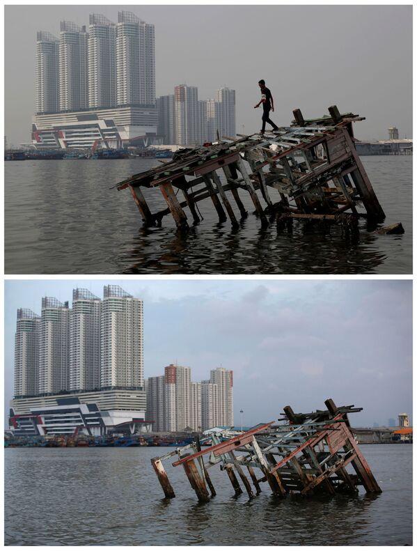 La vista dell'acqua ed edifici a Jakarta, Indonesia, il 26 luglio 2018 e il 16 aprile 2020. - Sputnik Italia