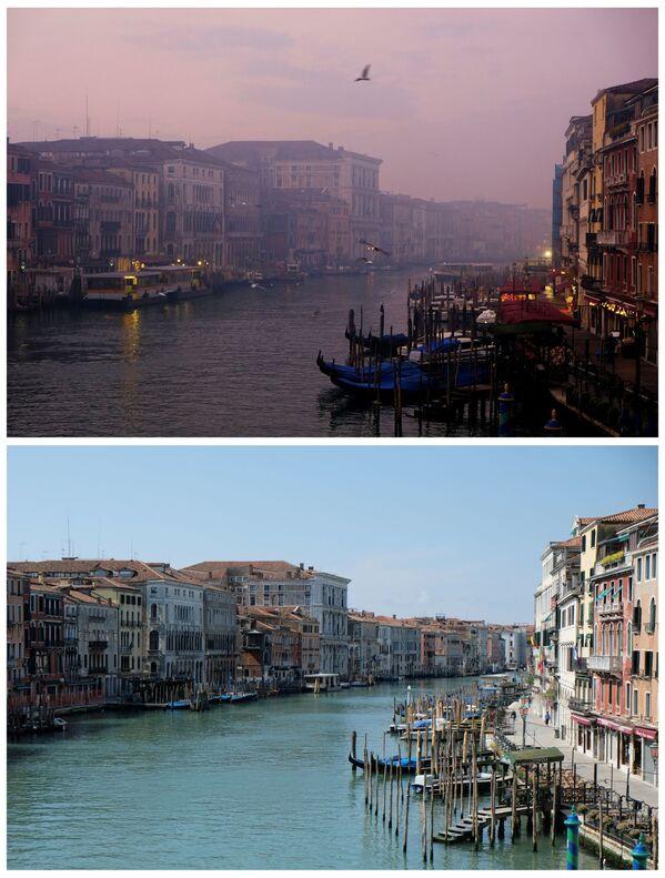 Il Canal Grande a Venezia il 6 gennaio 2018 e il 17 aprile 2020. - Sputnik Italia