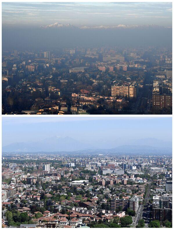 Le Alpi italiane viste a Milano l'8 gennaio 2020 e il 17 aprile 2020. - Sputnik Italia