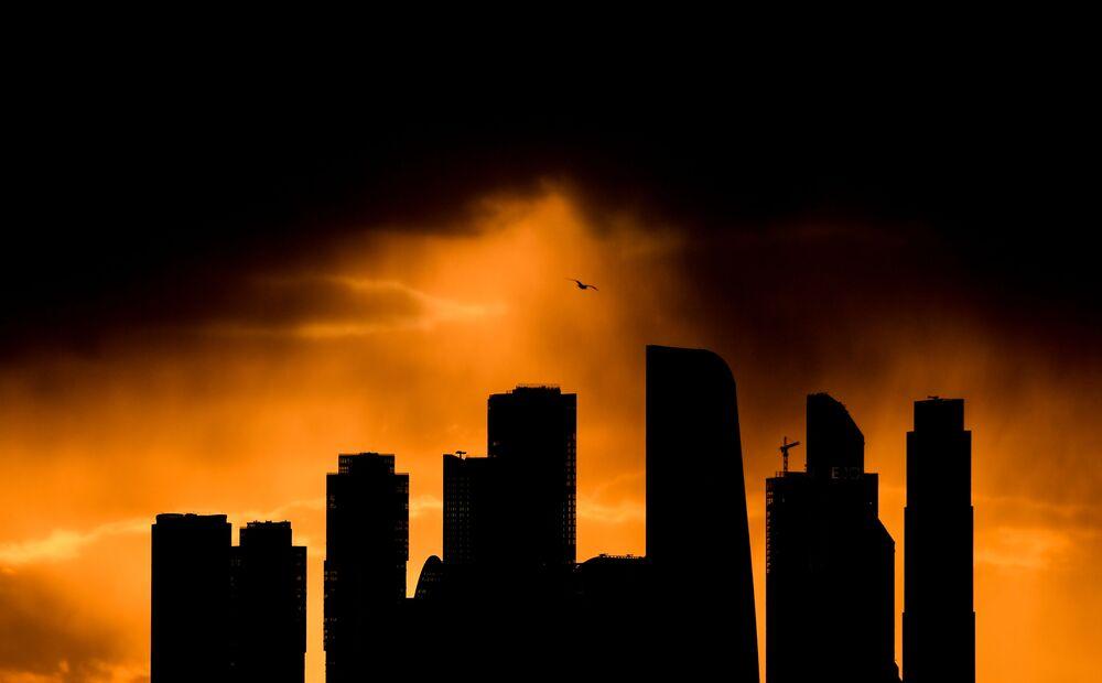 Moscow City al tramonto, Mosca, Russia