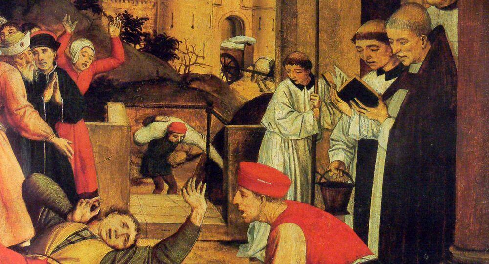 San Sebastiano supplica Cristo per la vita di un becchino afflitto dalla peste