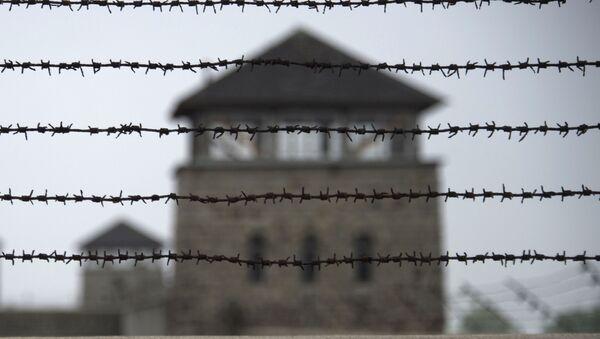 Забор из колючей проволоки в бывшем нацистском концентрационном лагере Маутхаузен, северная Австрия - Sputnik Italia