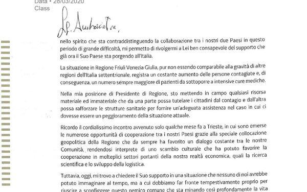 Nota ufficiale dal Presidente della Regione Autonoma Friuli Venezia Giulia Massimiliano Fedriga all'Ambasciatore della Federazione Russa in Italia S. Razov - Sputnik Italia