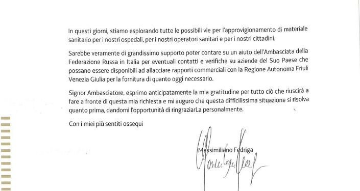 Nota ufficiale dal Presidente della Regione Autonoma Friuli Venezia Giulia Massimiliano Fedriga all'Ambasciatore della Federazione Russa in Italia S.Razov