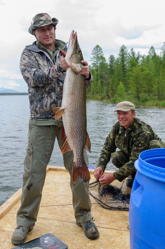Vladimir Putin va a pescare sul fiume Enisej nel territorio di Krasnoyarsk, il 20 luglio 2013.