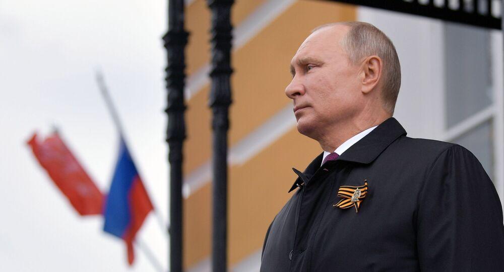 Il presidente russo Putin prima della parte aerea della parata militare per il 75esimo anniversario della Vittoria della Grande guerra patriottica
