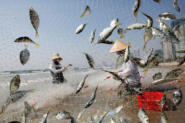 Pescatori sulla spiaggia a Da Nang, Vietnam, il 6 maggio 2020 - Sputnik Italia