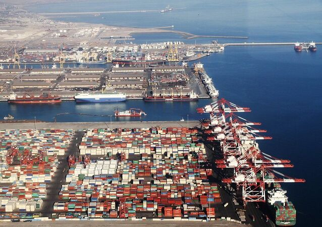 Port of Shahid Rajaee, in the coastal city of Bandar Abbas, Iran.