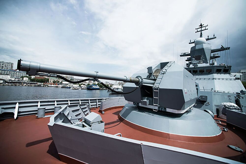 Pezzo di artiglieria automatico A-190 sulla corvetta Sovershenny