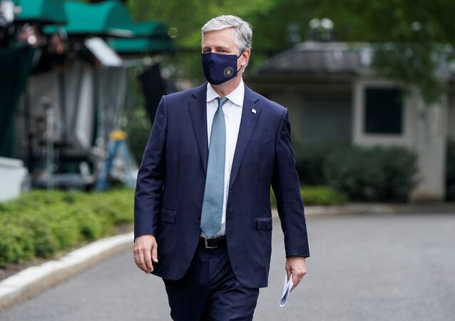 National Security Advisor Robert O'Brien walks after being interviewed at the White House in Washington, U.S., May 24, 2020