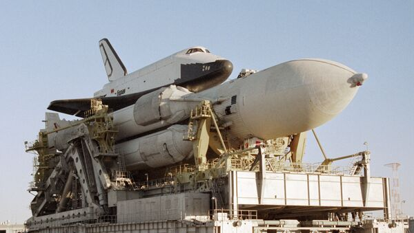 The Energiya space rocket system comprising a launch vehicle and the Buran reusable shuttle. File photo - Sputnik Italia