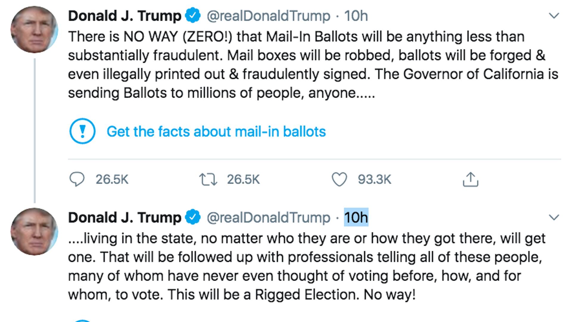 I tweet del Presidente degli Stati Uniti Donald Trump del 26 maggio sulle votazioni  per corrispondenza e sulle possibili frodi di voto vengono contrassegnate da Twitter. - Sputnik Italia, 1920, 19.08.2021