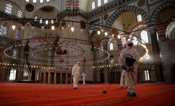 Disinfezione alla Moschea Suleymaniye a Istanbul, Turchia - Sputnik Italia