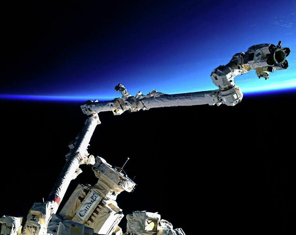 Lo Space Station Robotic Manipulator System (SSRMS) canadese.