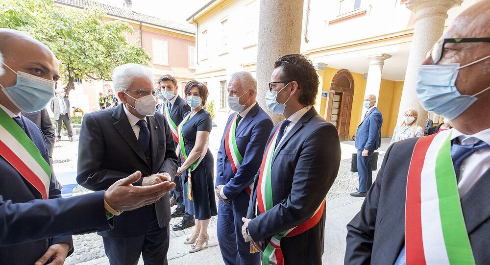 Codogno - Il Presidente della Repubblica Sergio Mattarella in occasione della visita a Codogno, 2 giugno 2020