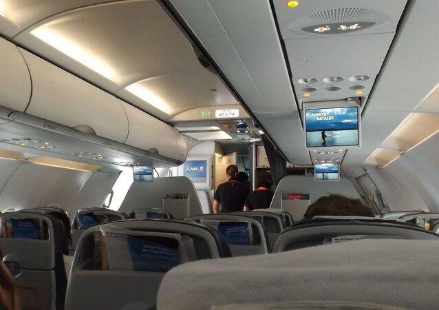 Dans la cabine d'un avion