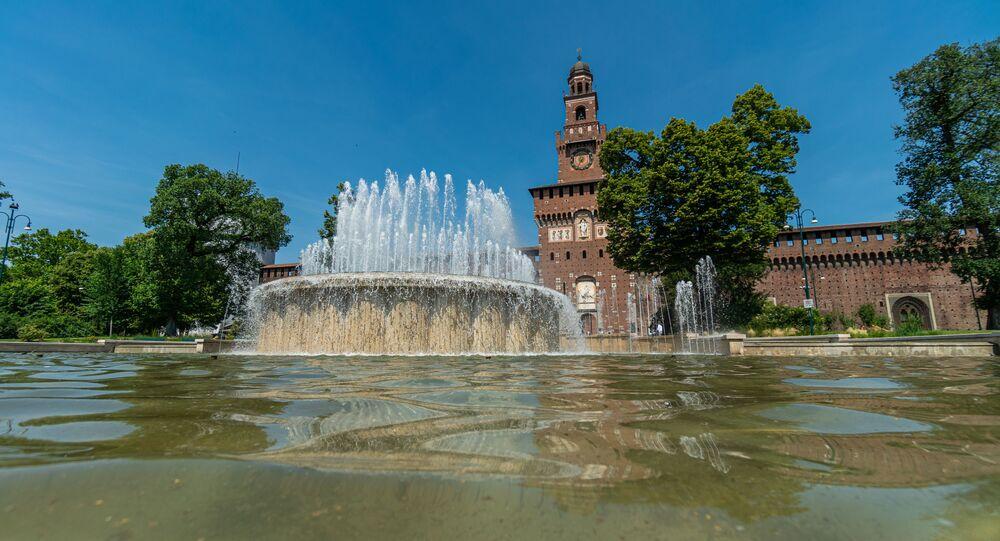 La fontana al Castello Sforzesco a Milano